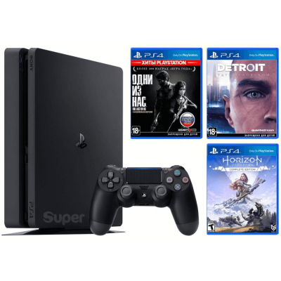 Sony PlayStation 4 Slim 1TB Black Horizon Zero Dawn CE + Detroit + The Last of Us + PSPlus 3М