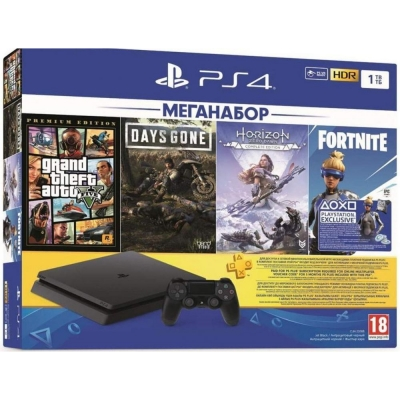 Sony PlayStation 4 Slim (PS4 Slim) 1TB GTA 5 + Days Gone + Horizon Zero Dawn + PSPlus 3М