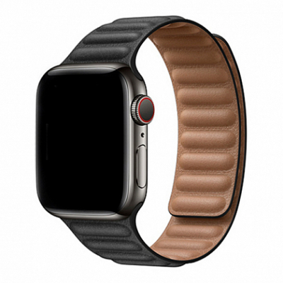 Ремешок Apple Leather Link for Apple Watch 42mm/44mm Black - S/M