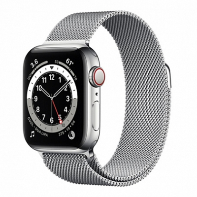 Смарт-часы Apple Watch Series 6 + LTE 44mm Silver Stainless Steel Case with Silver Milanese Loop