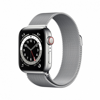 Смарт-часы Apple Watch Series 6 + LTE 40mm Silver Stainless Steel Case with Silver Milanes Loop