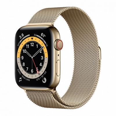 Смарт-часы Apple Watch Series 6 + LTE 44mm Gold Stainless Steel Case with Gold Milanes Loop