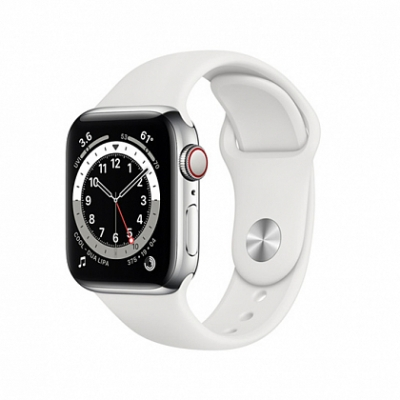 Смарт-часы Apple Watch Series 6 + LTE 40mm Silver Stainless Steel Case with White Sport Band