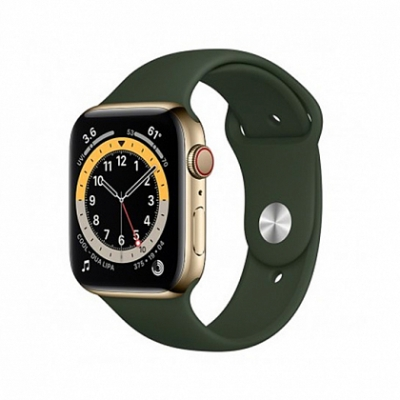 Смарт-часы Apple Watch Series 6 + LTE 40mm Gold Stainless Steel Case with Cyprus Green Sport