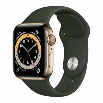 Смарт-часы Apple Watch Series 6 + LTE 44mm Gold Stainless Steel Case with Cyprus Green Sport Band