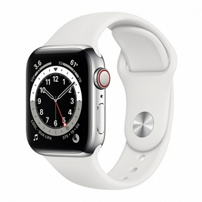 Смарт-часы Apple Watch Series 6 + LTE 44mm Silver Stainless Steel Case with White Sport Band