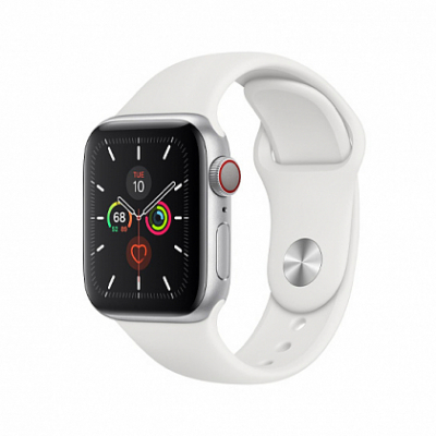 Смарт-часы Apple Watch Series 5 + LTE 40mm Silver Aluminum Case with White Sport Band