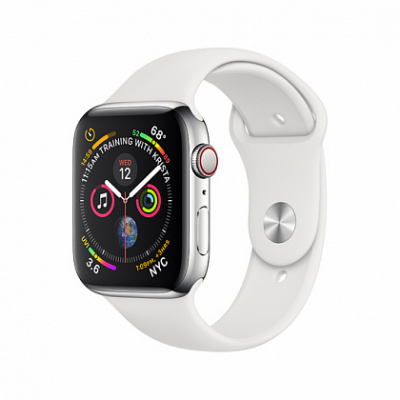 Смарт-часы Apple Watch Series 4 + LTE 40mm Stainless Steel Case with White Sport Band