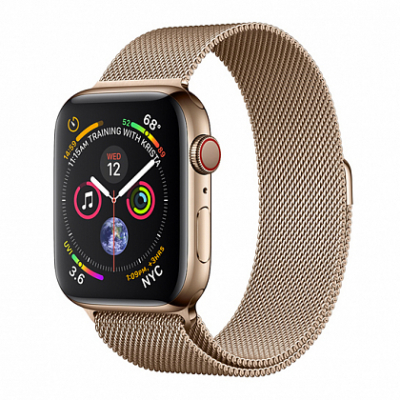 Смарт-часы Apple Watch Series 4 + LTE 44mm Gold (Золотой) Stainless Steel with Gold Milanese Loop