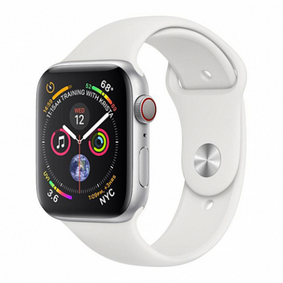 Смарт-часы Apple Watch Series 4 + LTE 44mm Silver (Серебристый) Aluminum Case with White Sport Band