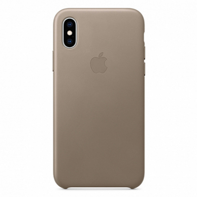 Чехол Apple Leather Case for iPhone XS Taupe
