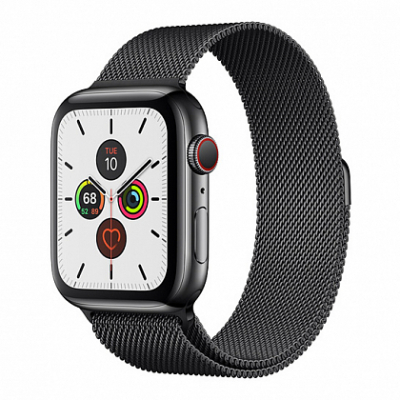 Смарт-часы Apple Watch Series 5 + LTE 44mm Space Black Stainless Steel Case with Black Milanese Loop