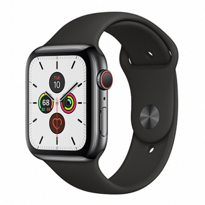 Смарт-часы Apple Watch Series 5 + LTE 44mm Space Black Stainless Steel Case with Black Sport Band